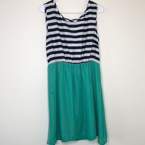 Cute Navy Stripe and Teal Green Dress